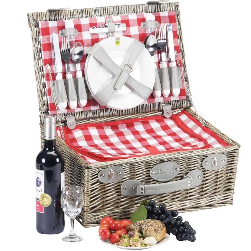 panier picnic carreaux rouges marly 4 personnes. Black Bedroom Furniture Sets. Home Design Ideas
