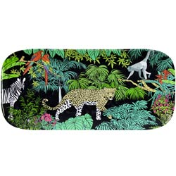 Plat à Cake long et rectangulaire en mélamine pure - contour bambou - 37,5 cm - Jungle