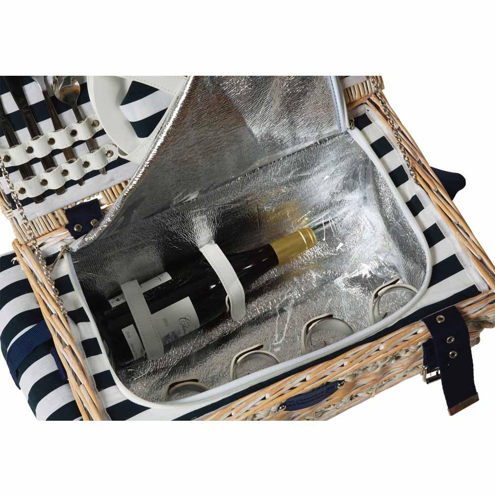 panier pique nique 4 personnes marine avec compartiment isotherme. Black Bedroom Furniture Sets. Home Design Ideas