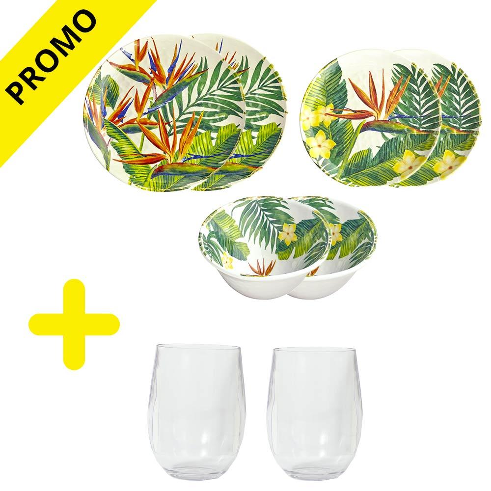 service vaisselle m lamine 50 sur les verres exotic flowers. Black Bedroom Furniture Sets. Home Design Ideas