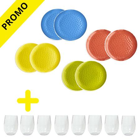 service vaisselle m lamine united colors 50 sur les verres. Black Bedroom Furniture Sets. Home Design Ideas