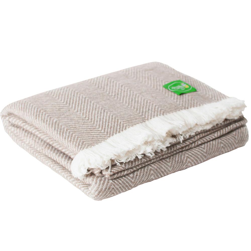 plaid doux cachemire et laine marron ivoire 130 x 200 cm. Black Bedroom Furniture Sets. Home Design Ideas