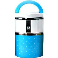Lunch box bleue, ronde - 2 compartiments isothermes