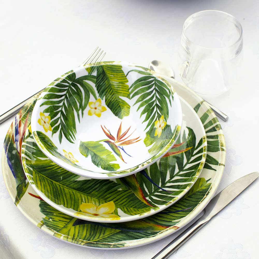 assiette incassable en m lamine fleurs exotiques 23 cm. Black Bedroom Furniture Sets. Home Design Ideas