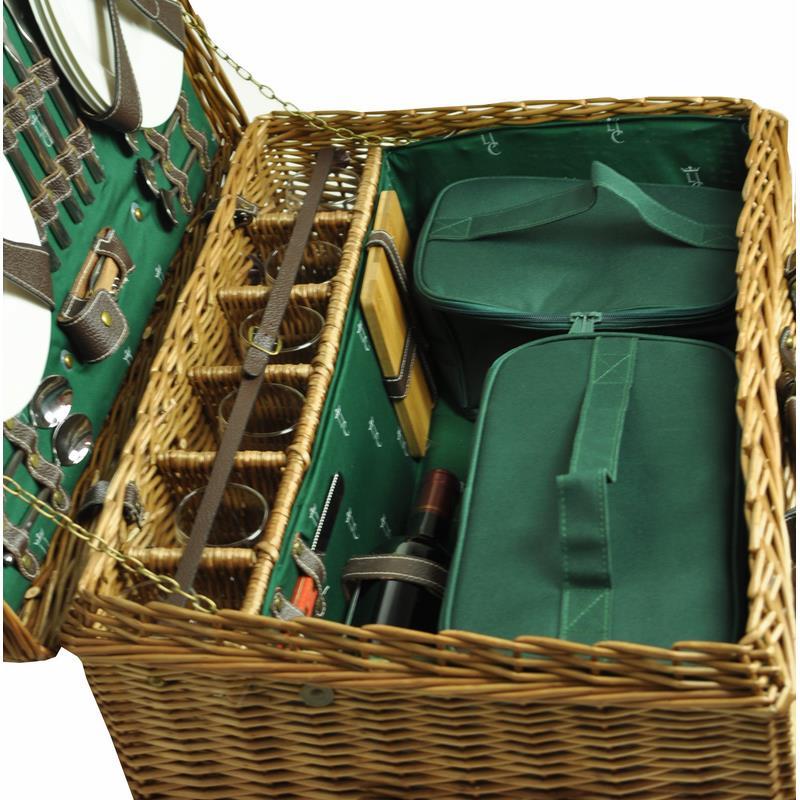 malle pique nique de luxe en osier et cuir champs elys es. Black Bedroom Furniture Sets. Home Design Ideas