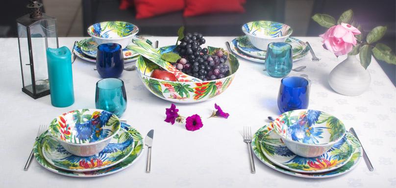 service vaisselle mélamine motifs tropicaux | art de la table