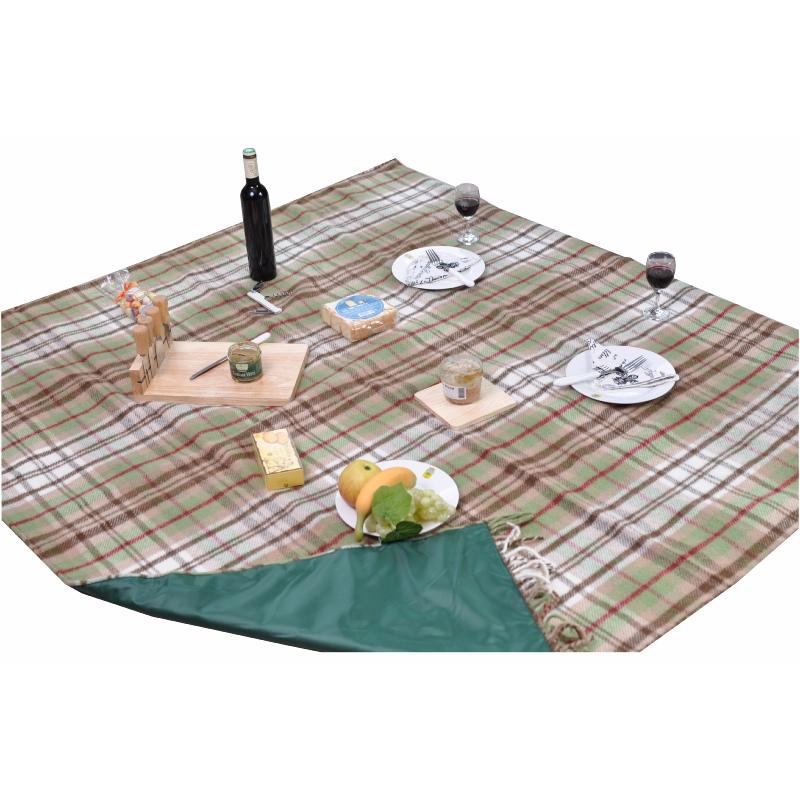 grand plaid pique nique voyage en pure laine vierge cossais vert et marron. Black Bedroom Furniture Sets. Home Design Ideas