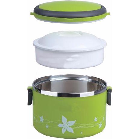 la lunch box isotherme ronde et verte avec compartiment int gr pour une sortie en famille. Black Bedroom Furniture Sets. Home Design Ideas