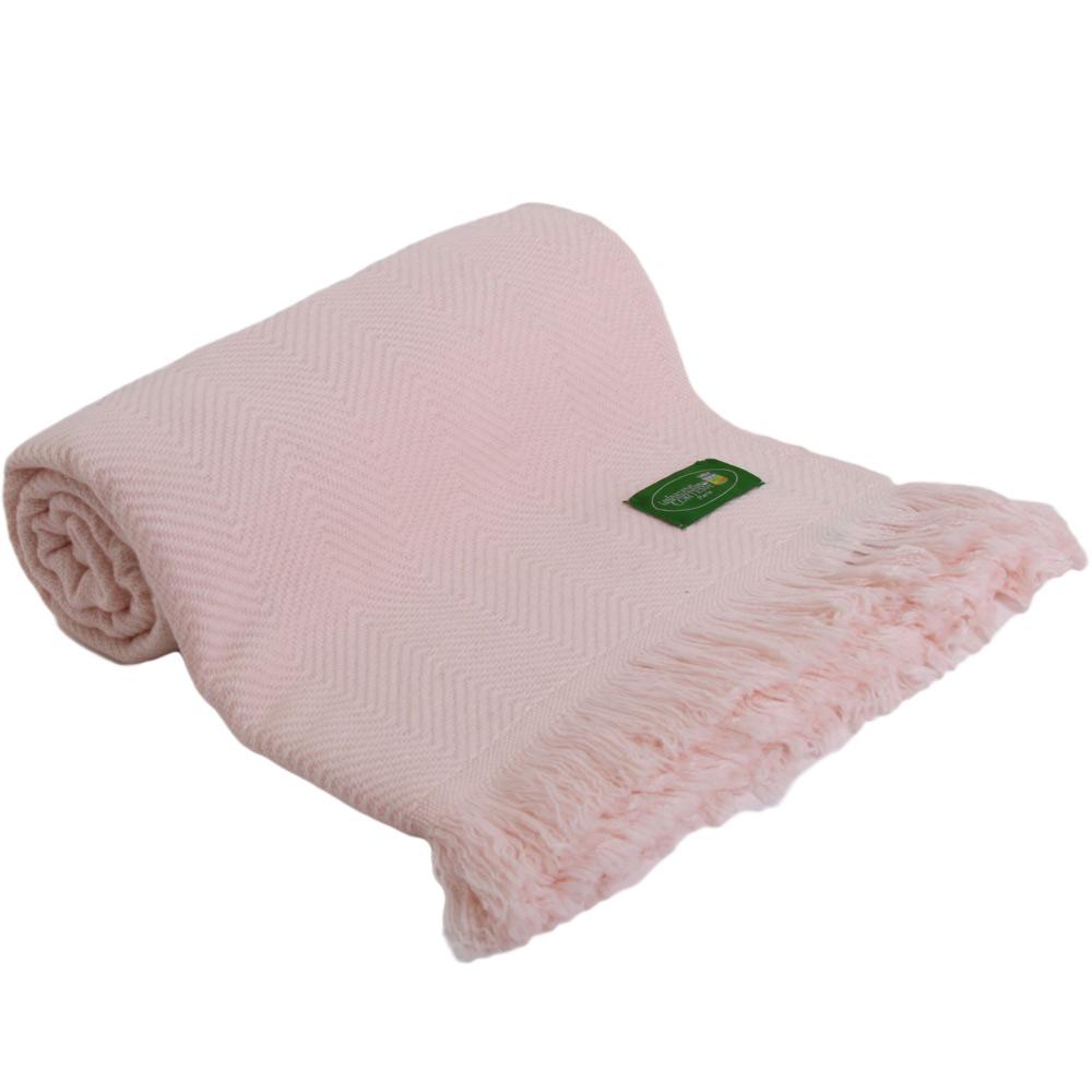 plaid doux cachemire et laine rose claire 130 x 200 cm. Black Bedroom Furniture Sets. Home Design Ideas
